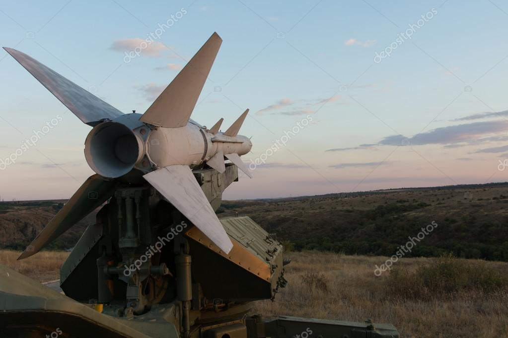 Surface to surface missile on a launcher