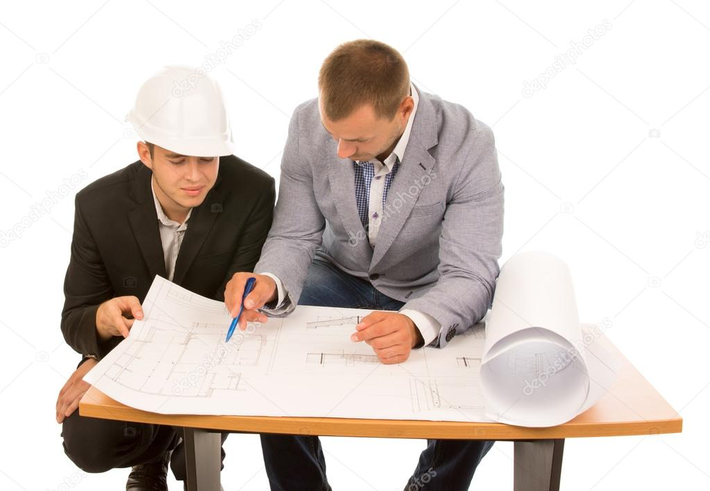 Team of architects working on a plan