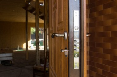 Safety lock on a new wooden front door