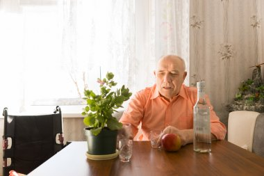 Old Man at the Table with Wine, Apple and Plant