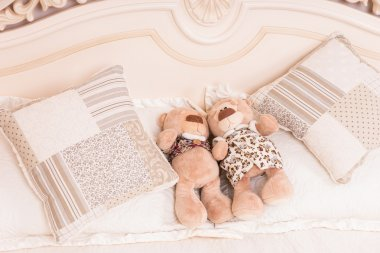 Teddy Bear Couple Snuggling on Bed