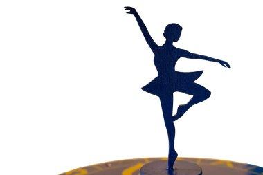 Ballerina Silhouette Statue on White Background