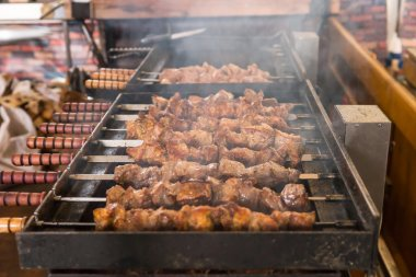 Close Up of Kebabs Roasting on Hot Grill