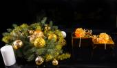 Christmas Gifts and Decorated Evergreen