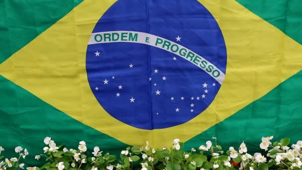 Brazilian flag and flowers