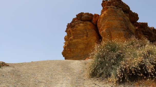 Orange brown red cliff and grass scenery