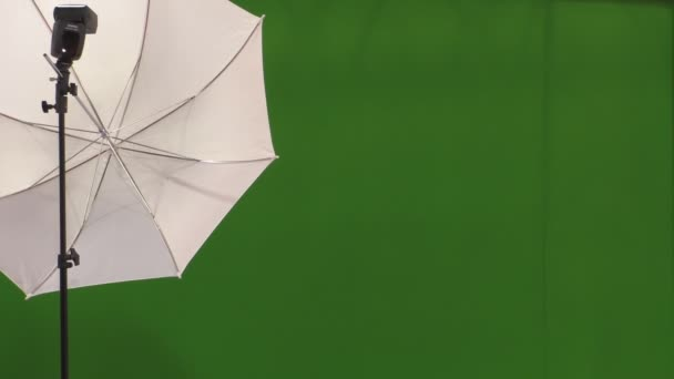 Flash,umbrella and green background