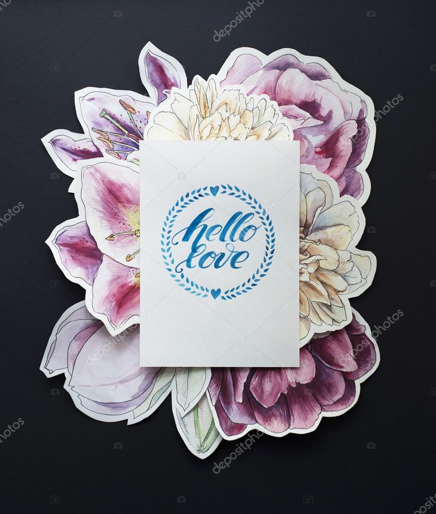 creative graphic poster for your design. Empty white card on flowers hand painted background. Vintage Beautiful bright watercolor on black. hello love. lettering. hand drawn calligraphy