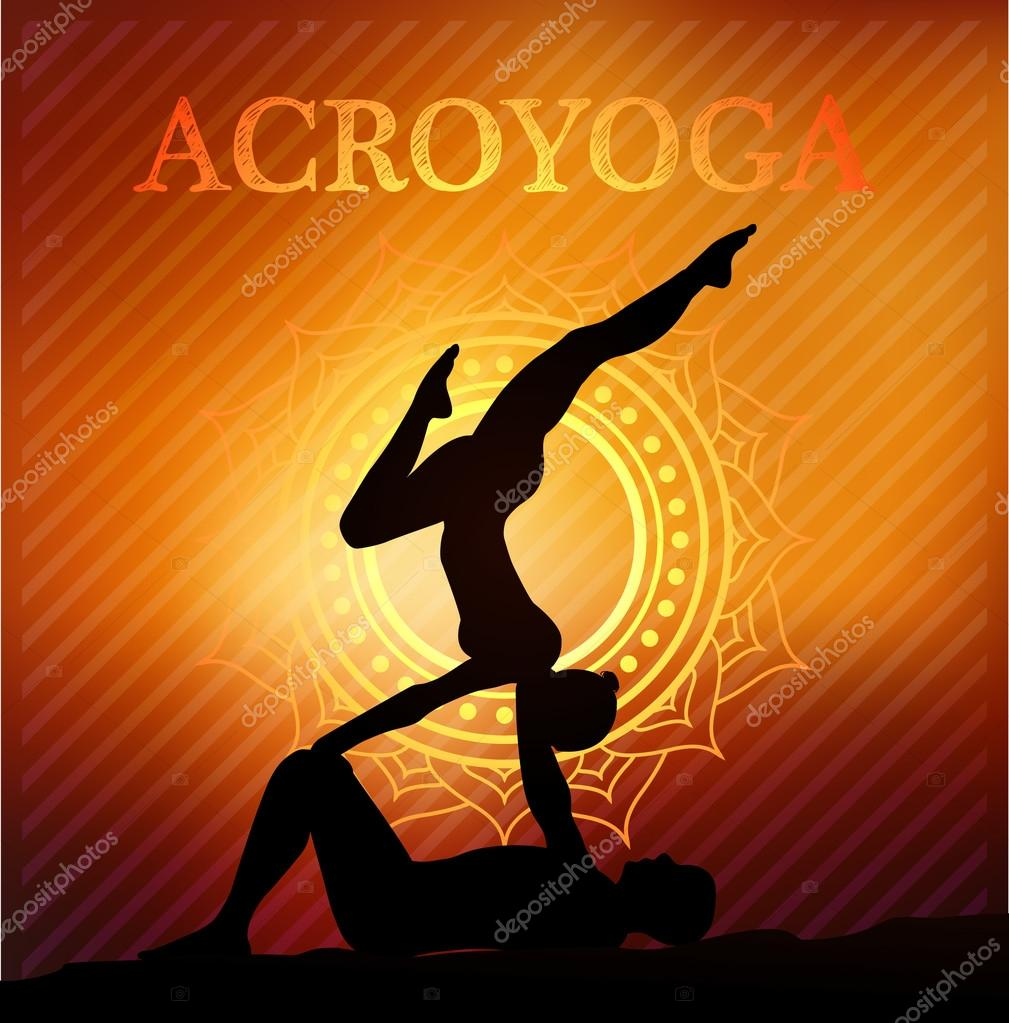 Acro Yoga Partner Couples Poses Vector By Wywenka