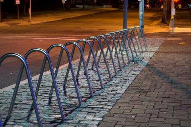 Empty Metal Bicycle Racks