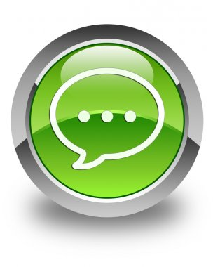 Talk icon glossy green round button