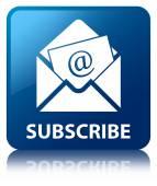 Abonnieren Sie (Newsletter-Email-Ikone) glänzend blau reflektierten Quadrat b
