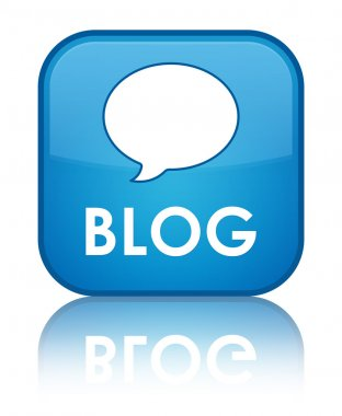 Blog glossy blue reflected square button