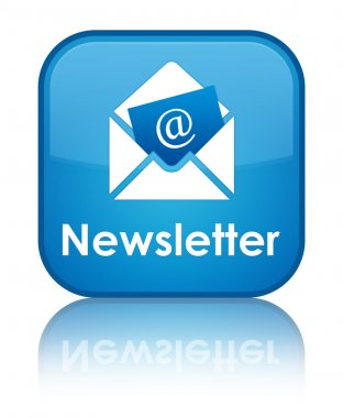 Newsletter glossy blue reflected square button