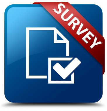 Survey (Checklist icon) glassy red ribbon on glossy blue square button