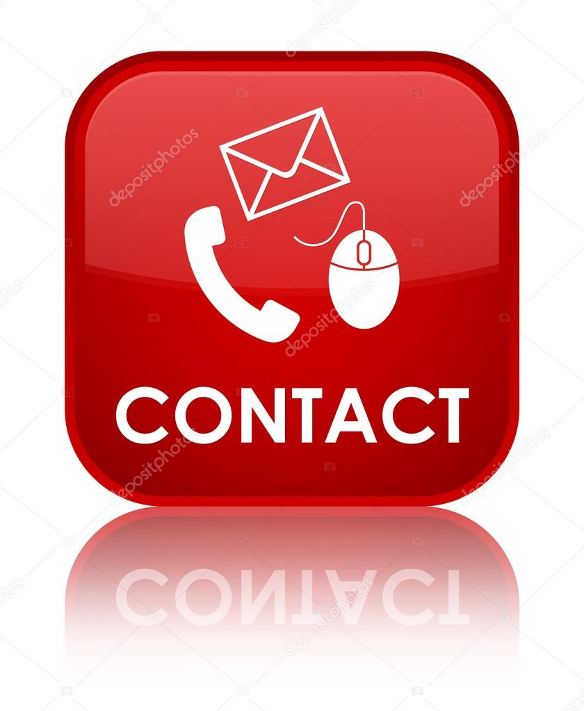 Contact Email: Contact (email, Mouse, Phone Icon) Glossy Red Reflected