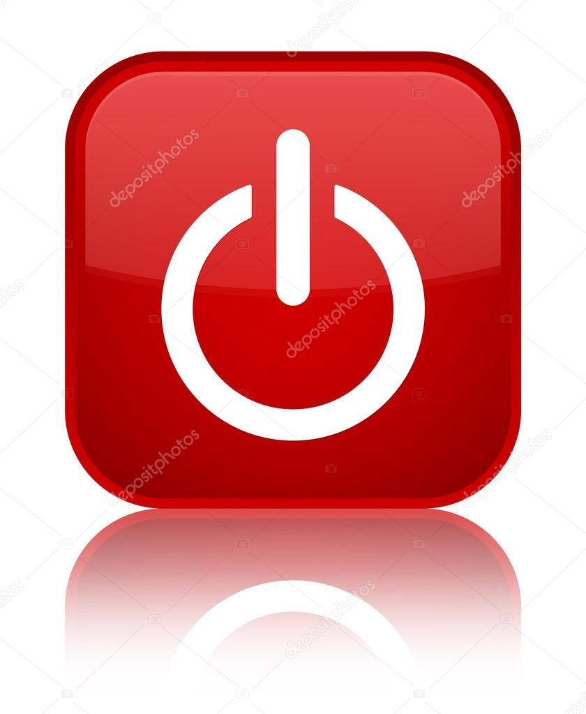 Power off (shutdown) icon glossy red reflected square button