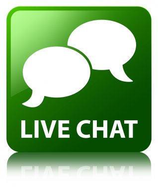 Live chat (bubble icon) glossy green reflected square button