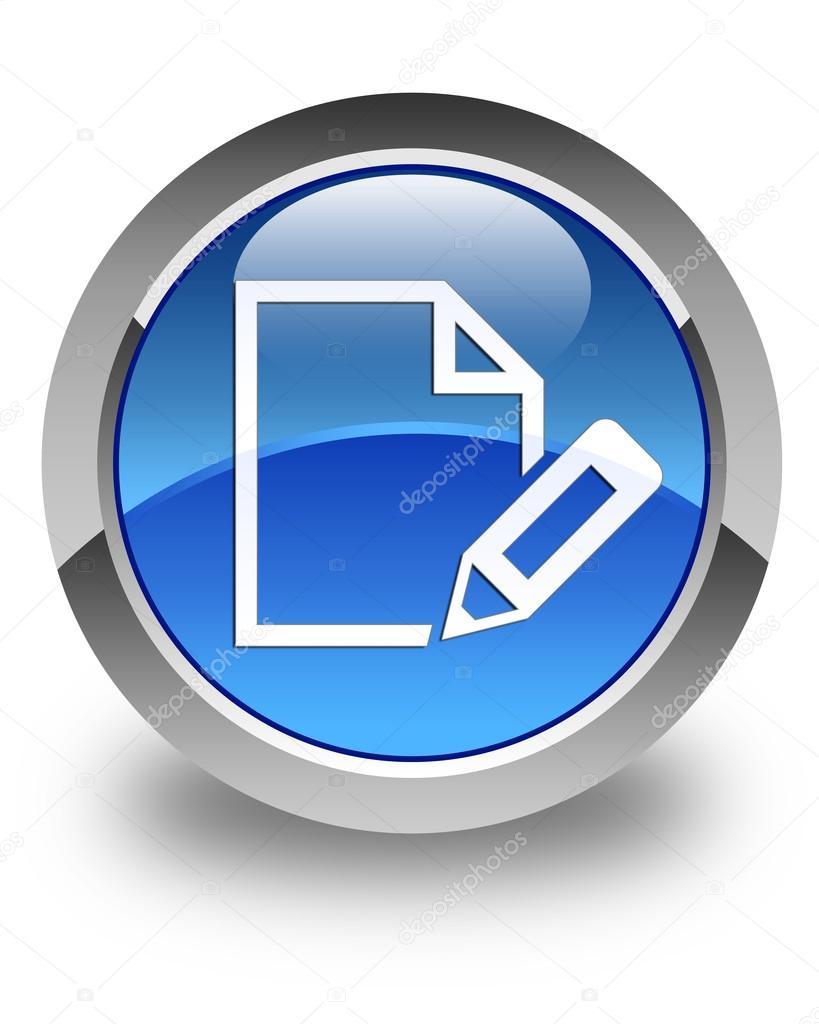 Editar documento icono bot n redondo azul brillante foto for Icono boton