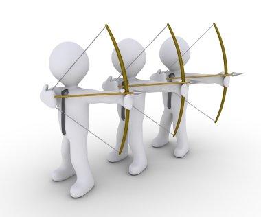 Three businessmen aiming at same target