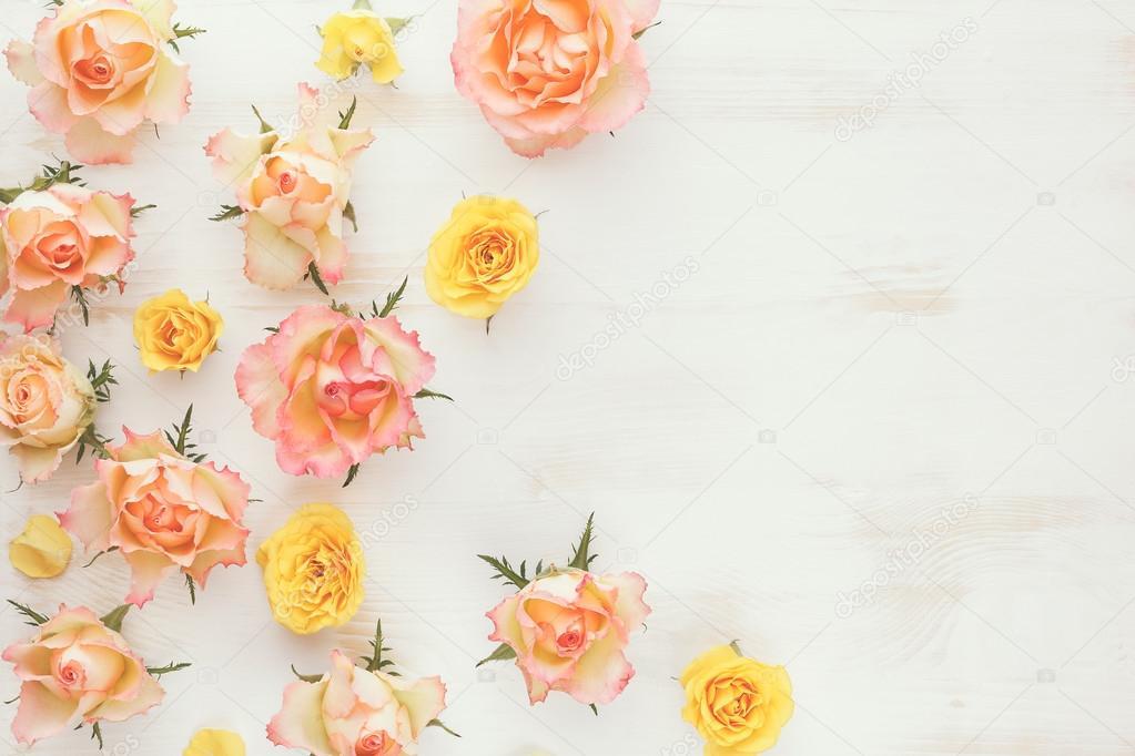 Vintage Fresh Rose Floral Background Stock Photo