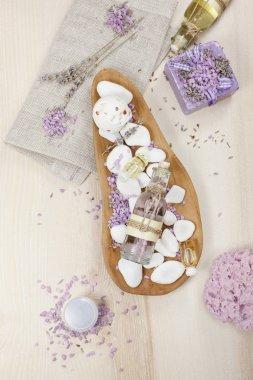 Lavender spa set on linen