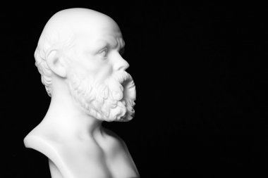 White marble bust of the greek philosopher Socrates, isolated on