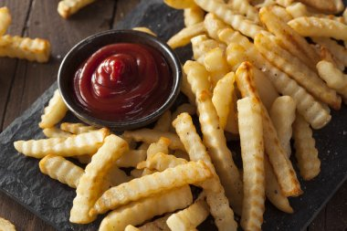 Unhealthy Baked Crinkle French Fries