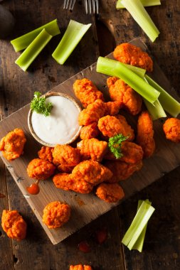 Hot and Spicy Boneless Buffalo Chicken Wings with Ranch stock vector
