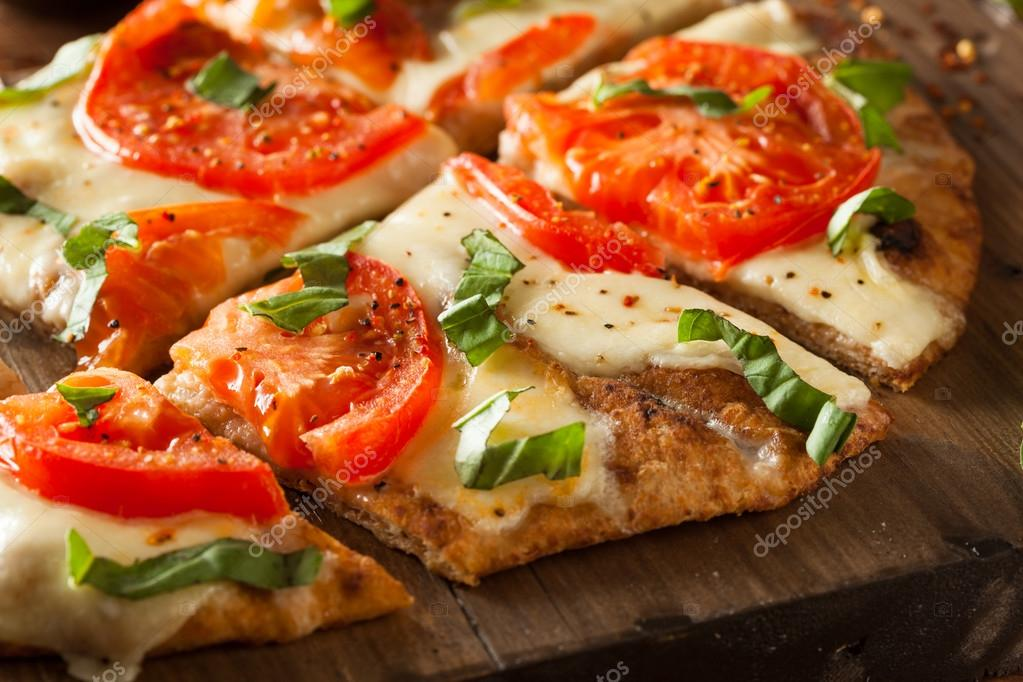 Homemade Margarita Flatbread Pizza Stock Photo