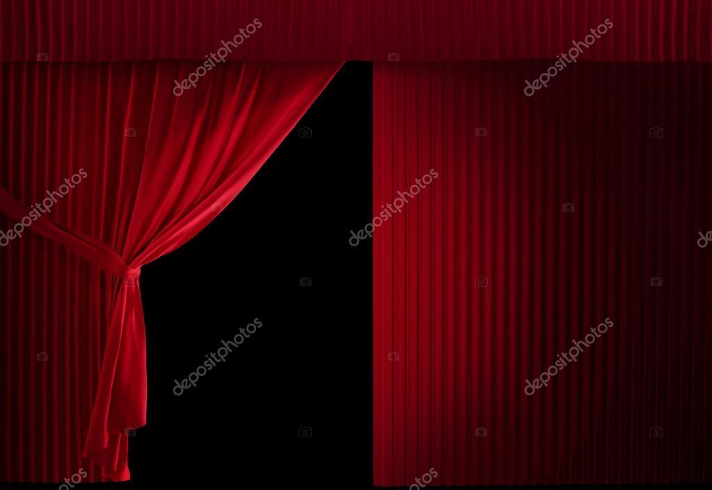 Théâtre Velours Rouge Courtain Que Moitié Ouvert Moitié Encore