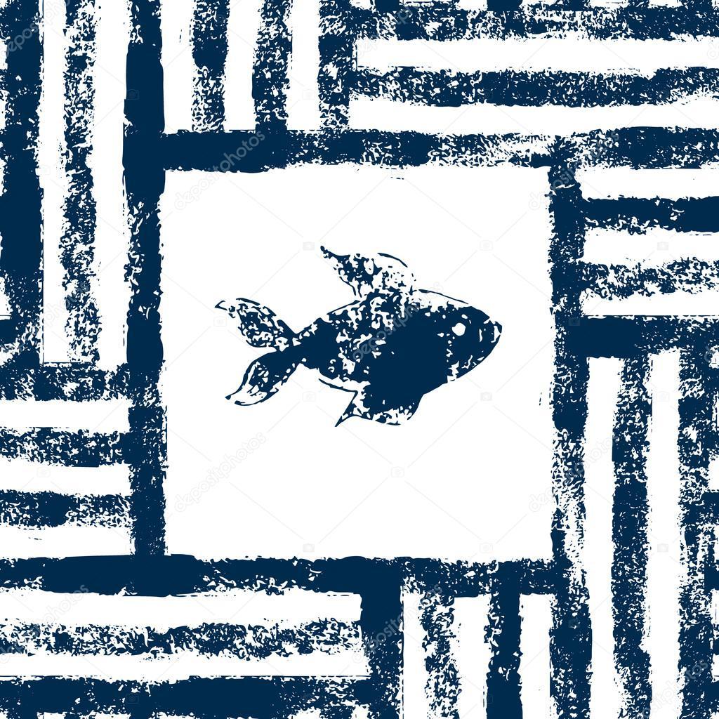 Azul y blanco de pescado en un marco de rayas tejido grunge de ...