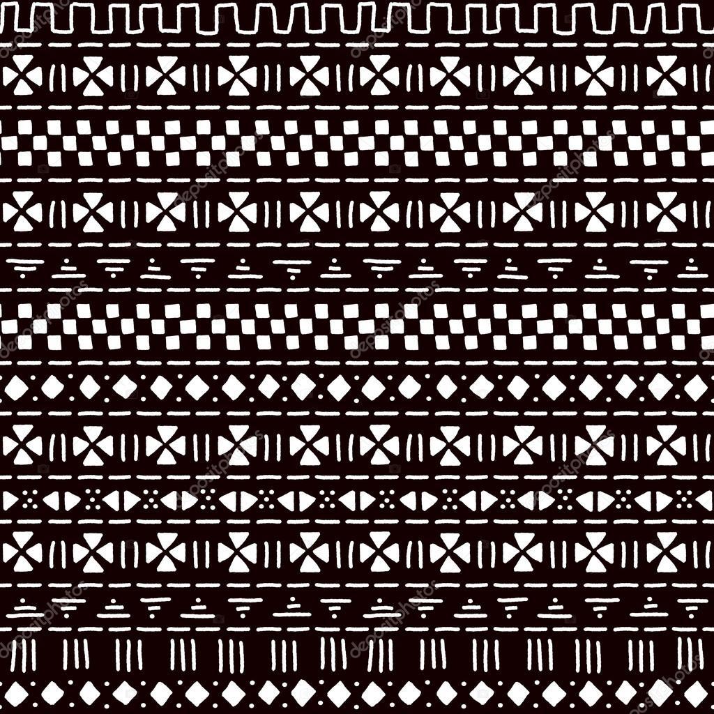Svart och vit randig prydnad traditionella afrikanska mudcloth tyg seamless  mönster 2615036d3c953