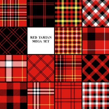 Scottish traditional tartan fabric seamless pattern set in red black and white, vector