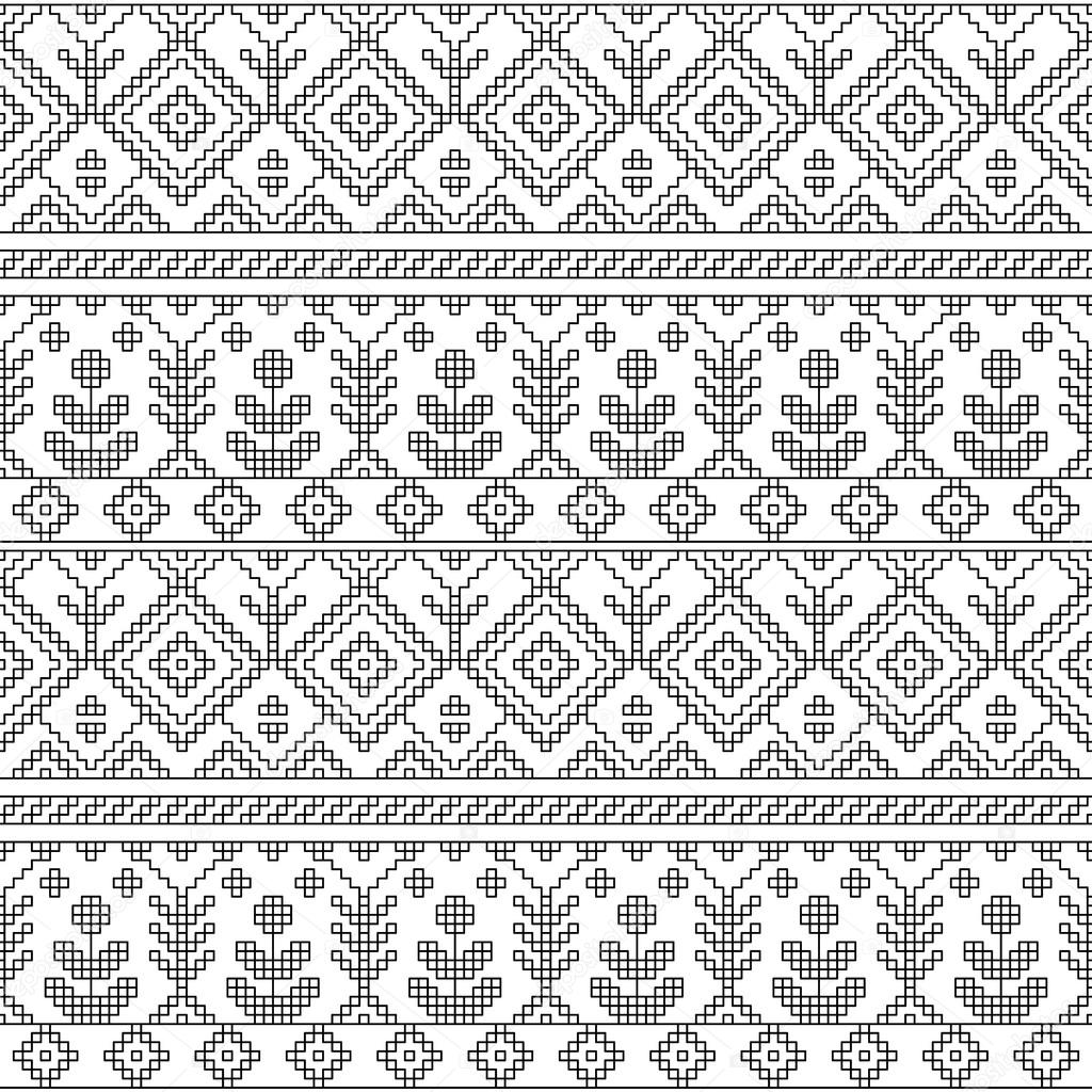 Black And White Ethnic Geometric Floral Seamless Pattern Vector