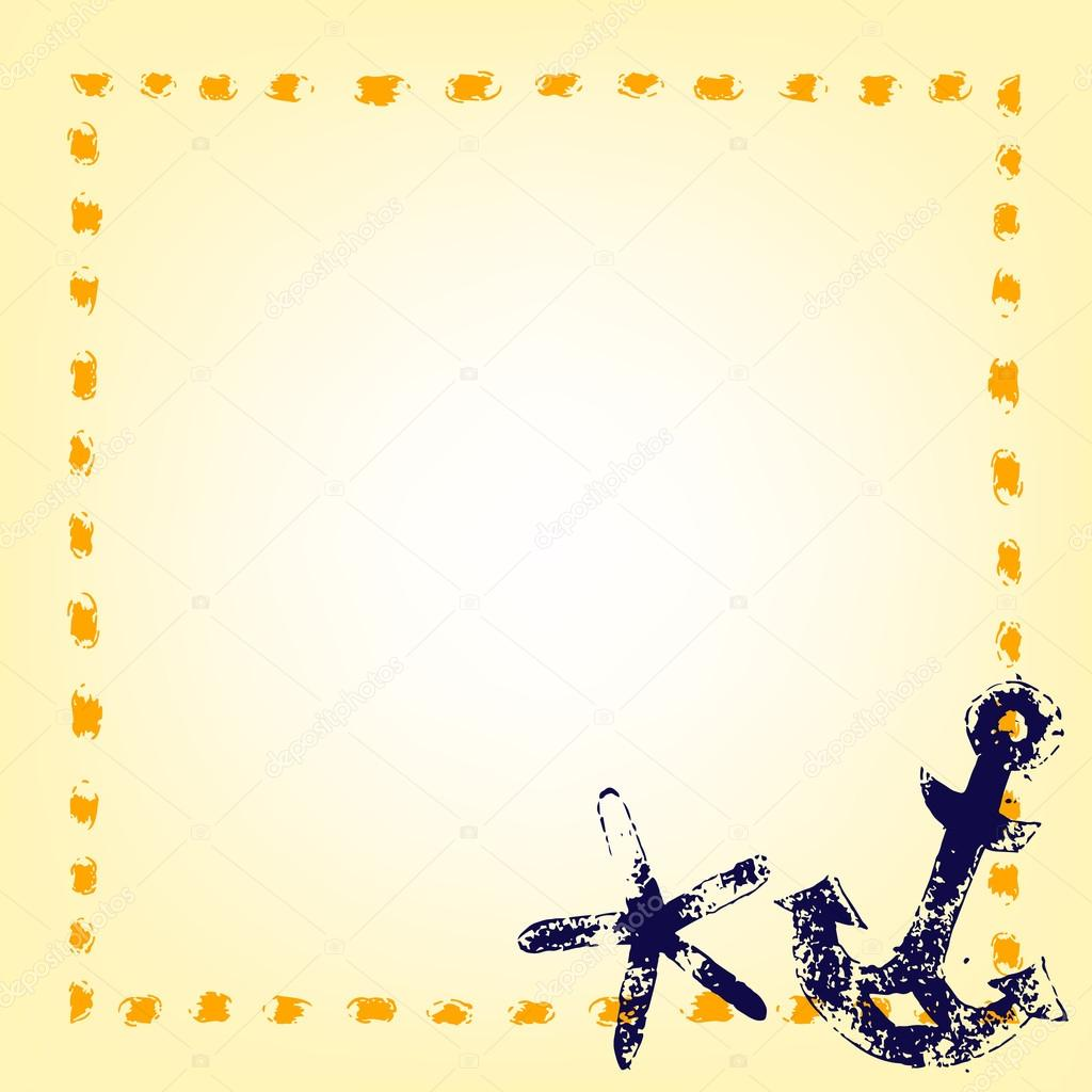 Marine grunge frame with an anchor and a starfish in blue yellow ...