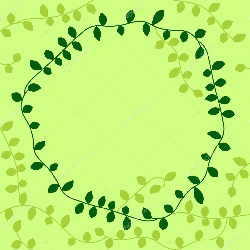 Grüne Reben Blätter Kreis Rahmen, Vektor — Stockvektor © natalyon ...