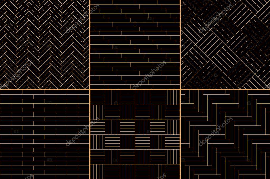 Zwarte en gouden eenvoudige geometrische parket vloer set visgraat
