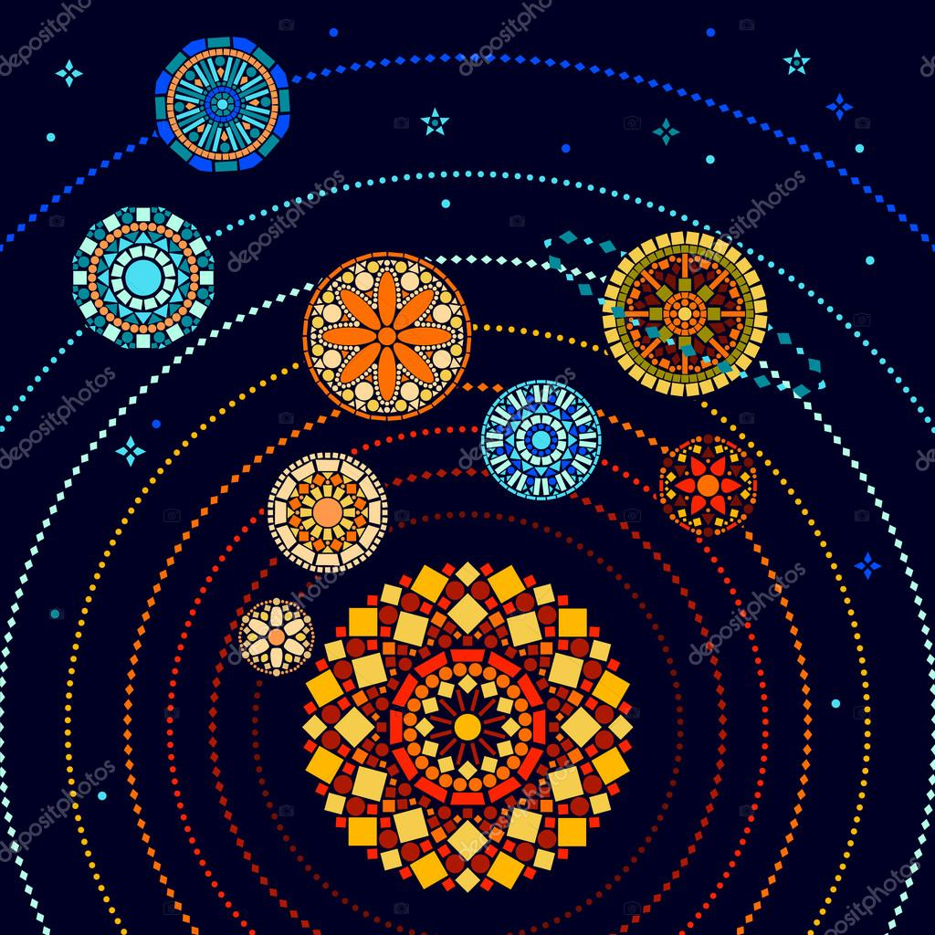 Colorful solar system with sun and mandala style planets educational graphic poster, vector illustration