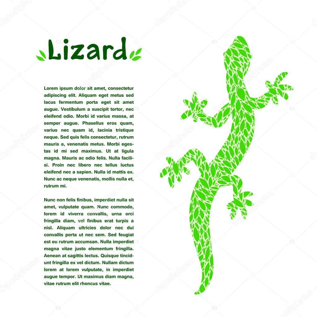 Green leaf textured lizard, design template for an article or banner