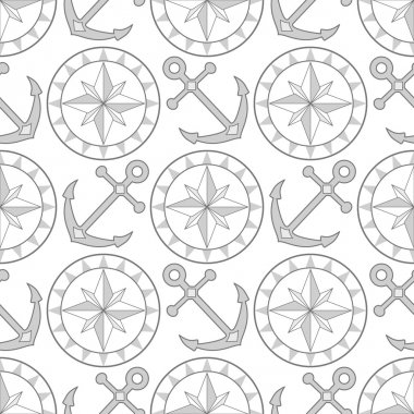 Anchor and compass seamless pattern in shades of gray, vector