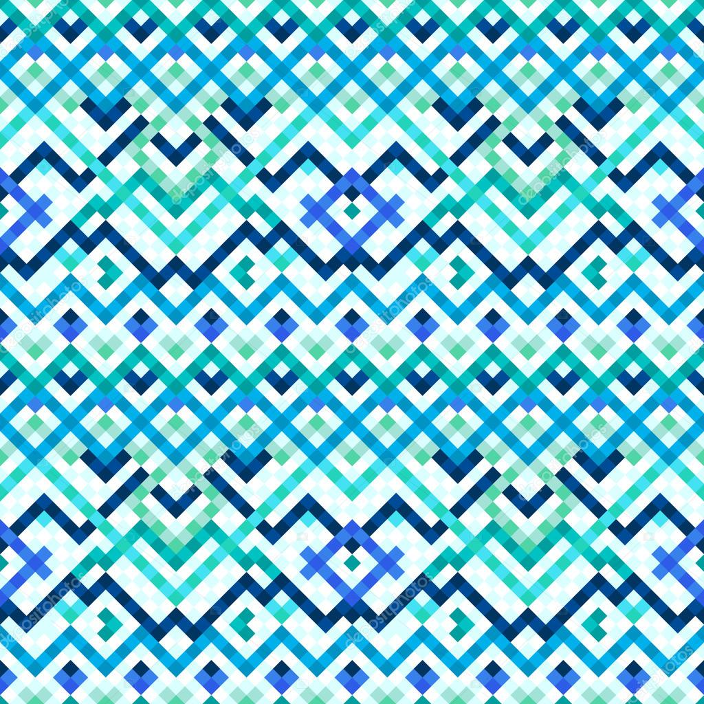 Colorful blue ethnic geometric mosaic tile seamless pattern, vector ...