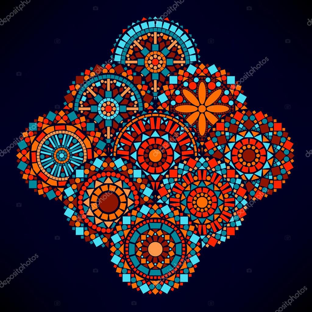 Colorful circle flower mandalas geometric in blue red and orange, vector illustration