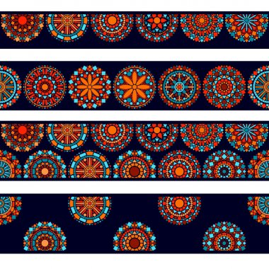 Colorful circle flower mandalas seamless borders collection in blue red and orange, vector
