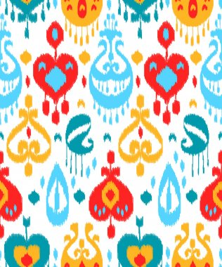 Red blue and white colorful ikat asian traditional fabric seamless pattern, vector