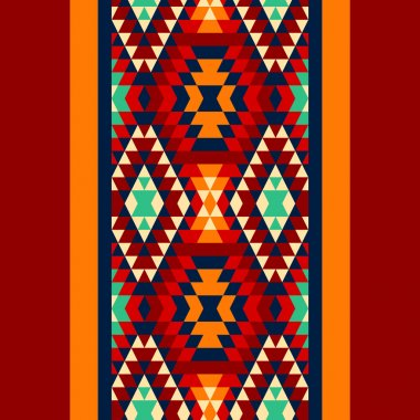 Colorful red yellow blue and and black aztec ornaments geometric ethnic seamless border, vector