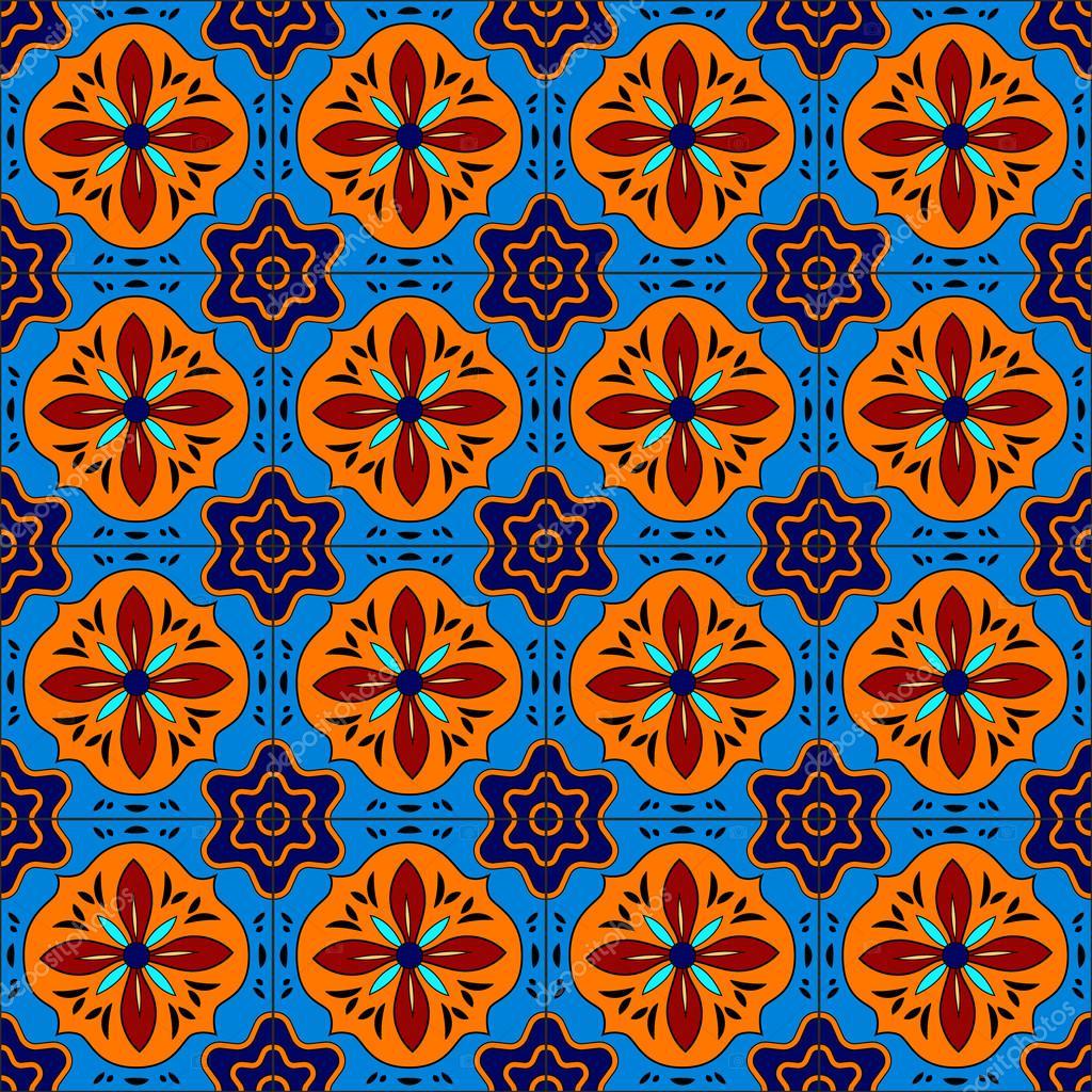 Mexicano estilizado talavera azulejos patr n sin costuras for Oficina zona azul talavera
