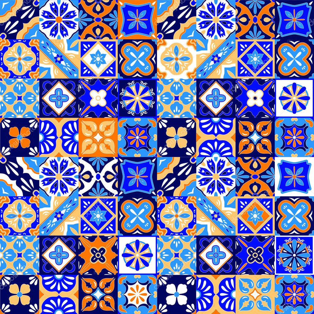 Mexican stylized talavera tiles seamless pattern in blue for Azulejo de talavera mexico