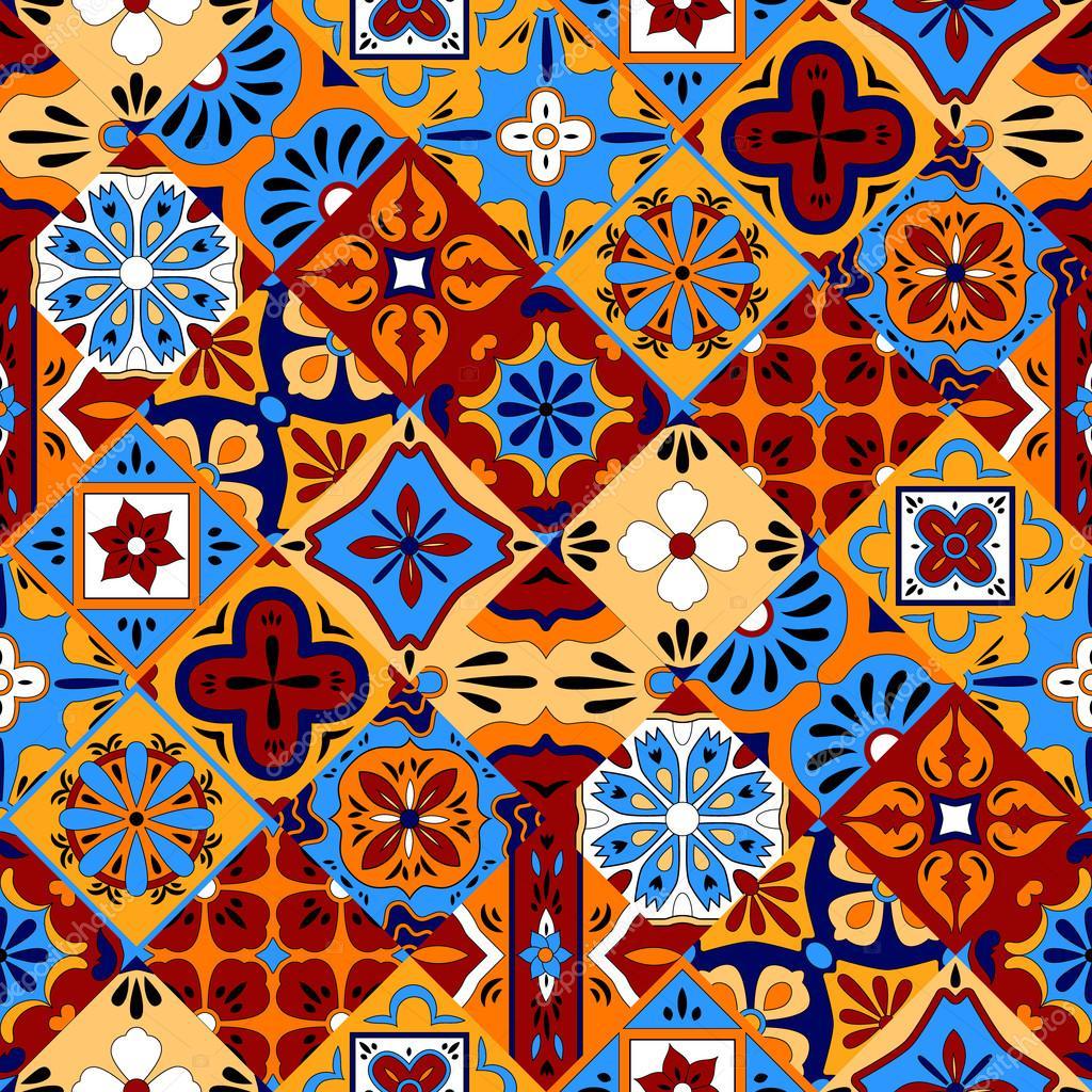 Mexicano estilizado talavera azulejos patr n sin costuras for Azulejos mexico
