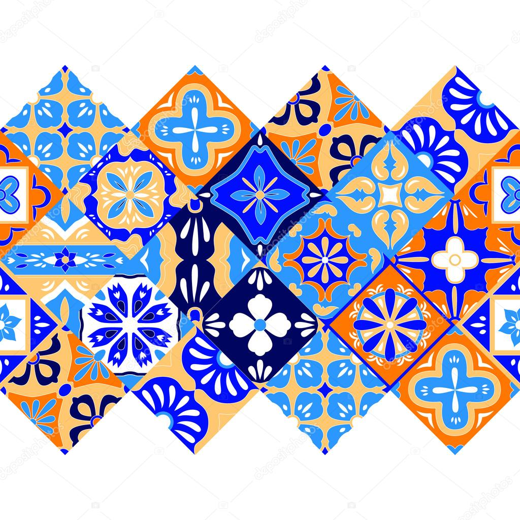 Mexican Stylized Talavera Tiles Seamless Border In Blue Orange And - Black and white talavera tile